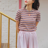 Colorful Stripe Tops Female Casual Trendy Tee Shirt
