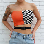 Checkerboard Boob Tube Top Women Summer Buckle Belt Bandage Top