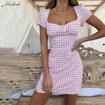 Women's Lattice Mini Dress Short Sleeve Square Collar A-Line Dress Ladies Backless Lace Up