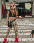 2pcs Toddler Baby Kid Girl Clothes Sets 1-5Y Lace Crop Tops T-shirt+Long Pants Outfit Set