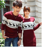 Runway long sleeve Wine red pullovers matching deer couple christmas New Year sweaters
