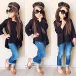 2PCS Toddler Kids Baby Girls Clothing Set Solid Black Long T-shirt Tops + Jean Denim Pants Outfits