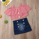 Summer Toddler Baby Girls Clothes Sets 1-6Y Plaid Ruffle Tops Denim A-Line Skirt Outfits