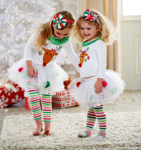 Christmas Toddler Baby Kid Girl Clothing Set  Children Xmas set Reindeer Tops Tutu Skirts dress Outfits Kid Costuems