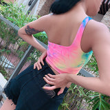 one-shoulder tie dye print sexy crop top colorful Summer