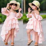 Summer Girls Dress Toddler Infant Children Off Shoulder Layered Lace Cotton Party Pageant Dress