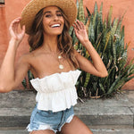 Sexy Solid Backless Ruffle Tank Bustier Bra Vest Crop Top Bralette