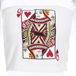 Sexy White Cartoon Print Tube Top Women