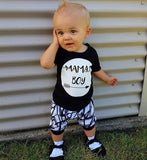 Newborn Toddler Kids Baby MAMAS BOY Print T-shirt Tops+Shorts Outfit Clothes Set