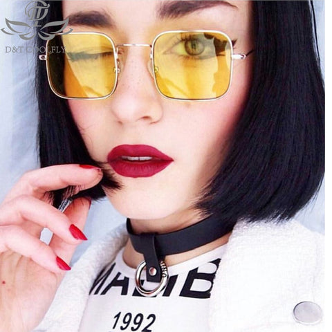 Square Retro Alloy Color Mirror Lens Metal Frame Sunglasses