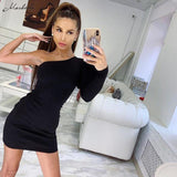 One Shoulder Sexy Bodycon Dress Summer Women Puff Long Sleeve Solid Wrap Mini Dress