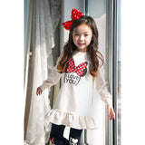 Toddler girl clothing sets children clothes kids top with bow+striped leggings 2pcs