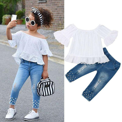 1-6Y Toddler Kids Baby Girls Clothes Sets White Tops T-shirt Denim Long Pants Jeans Outfits Set - Outfitter Style
