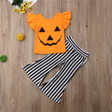 Kids Toddlers Baby Girl Halloween Pumpkin T-shirt Ruffle Tops+Striped Pant Festival Girls Outfit Clothes Set