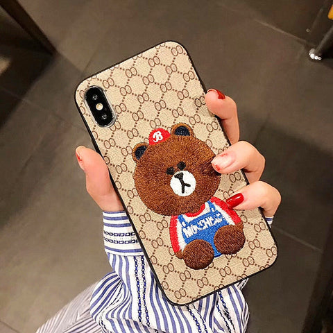 Embroidery Little Bear Phone Case For iphone 6 6s 7 8 plus and iphone x xr xs max