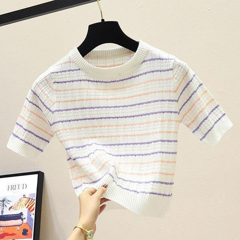 Sexy Top Women's Korean Style Casual O Neck Striped Slim Crop Top Knitted T-Shirt - Outfitter Style
