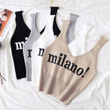 Milano Sexy Chic Crop Top Lady White Crop Top Summer Cotton Solid Tank Tops