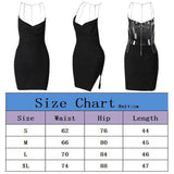 Women Sexy Deep V Neck Halter Backless Strappy Glitter Bodycon Wrap Dress - Outfitter Style