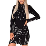 Women Fashion Casual Puff Sleeve Pearl Black Beading Short Dress