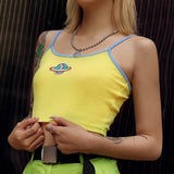 Space Planet Women Sexy Embroidery Sleeveless Slim Fit Vest cropped