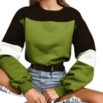 Splcing Color Sweatshirt Pullover Tops Blouse O Neck
