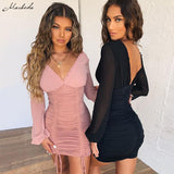Sexy Party Dresses Women Mesh Long Sleeve V-Neck Slim Spliced Drawstring Ruched