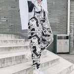 Stylish Cartoon Print Drawstring Pants Elastic Waist Hip Hop Long Pants