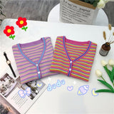 Women's Single Breasted Fashion V Neck Striped Tee Knitted Sexy Slim Crop Top - Outfitter Style