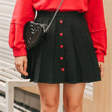 New College style mini sweet red heart button plus size pleated skirt women skirt