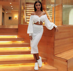 Two Pieces Set women clothing sexy knitted Off Shoulder Lantern