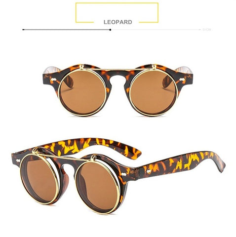 SteamPunk Flip Up Sunglasses Classic Double Layer Clamshell