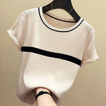 Knitted Cotton Tees Tops Striped Casual T-Shirt