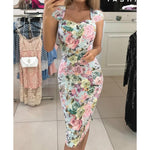 Floral Stripe Bandage Bodycon Dress Women Elegant Slim Fashion Square Neck Party Dress