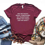 Why Be Racist Sexist Homophobic Transphobic T shirt quotes