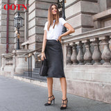 Casual Silk Knee-Length Office Lady High Waist Elegant Satin Skirts