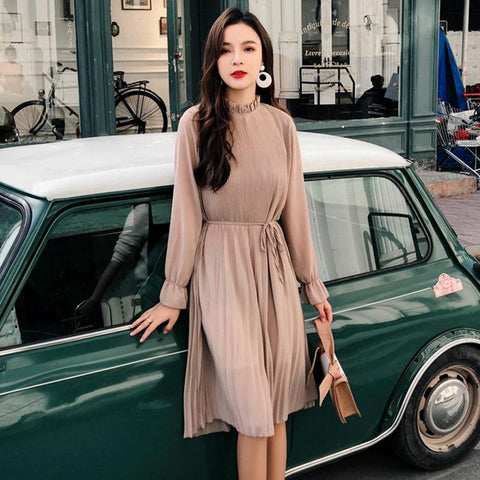 Women Two layers chiffon pleated dress female vintage elegant