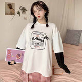Oversize Patchwork long Sleeve T-Shirts Korean Casual black tops