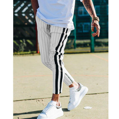 England Style Striped Pants Male New Long Pencil Joggers Pants - Outfitter Style