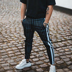 England Style Striped Pants Male New Long Pencil Joggers Pants