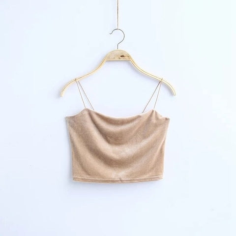 Corduroy Solid Color Sexy Camisole Female Tie Gold Velvet Crop Top