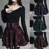 Sexy Women Pleated Red Plaid Skirts Sexy Women Punk Hip Hop Female Mini Skirt