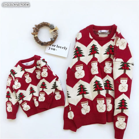 Christmas Sweater Family Look Mother And Daughter Clothes Adult Kids Baby
