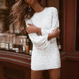 Sequined Sexy Bodycon Party Silver Dress Women Winter