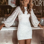 Sequined Sexy Bodycon Party Silver Dress Women Winter - Outfitter Style