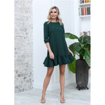 Women Casual Ruffles Loose Mini Dress Ladies Sweet Half Sleeve O Neck Solid Dress