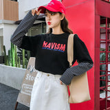 Casual long Sleeves T-shirt Womens Tops korean Style Women Letters Print Striped