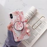 Marble Stand Holder Phone Case For iPhone 11 Pro Max XR XS 7 8 Case For Samsung A50 A70 S8 S9