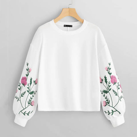 Women O-Neck Long Sleeve Botanical Floral Print Pullovers Sweatshirt