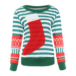 Christmas Sweater For gift Santa Elf Funny Pullover Womens Sexy Slim Socks Patchwork