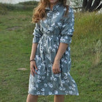 Flowers Dress Vintage Long Sleeve Mid-Calf Party Dress Button O-Neck